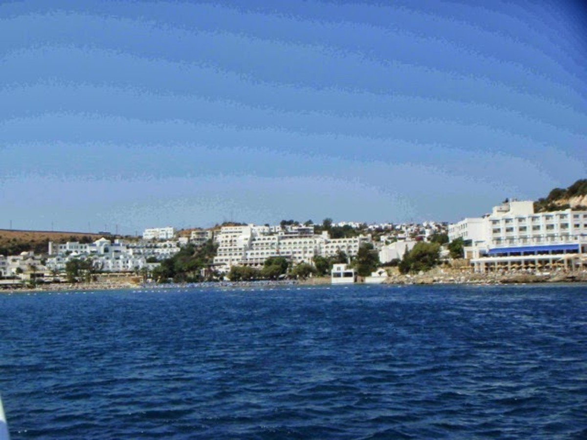 The view of Gumbet from the water.