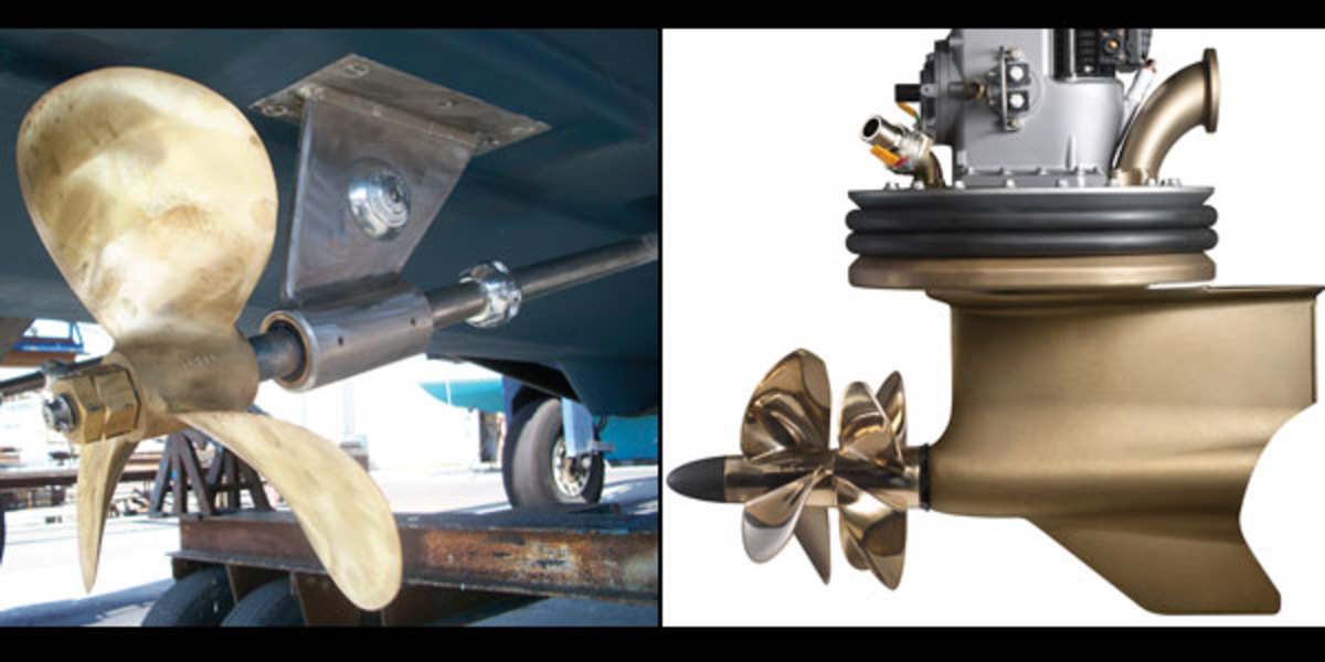 A shaft drive (left) embodies simplicity, while Volvo Penta's IPS (right) claims to be the future.