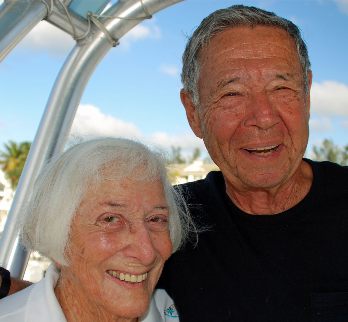 Bev and Dave Feiges enjoy marina life aboard Cloverleaf in Fort Lauderdale.