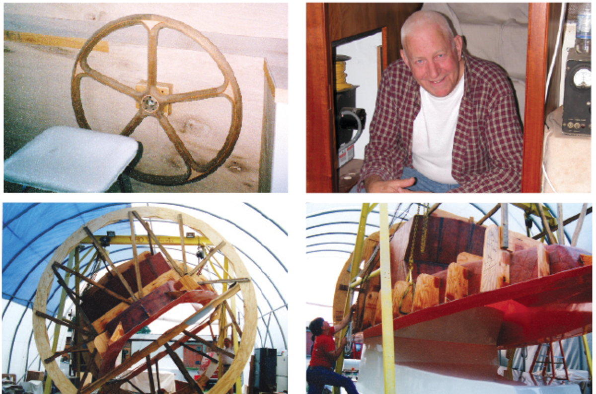Top left: The helm was the first piece of woodwork III built for Miss Ruby; it was a Christmas present to his parents. Top right: Wes is all smiles while constructing his new home on the water. Bottom: Wes and III constructed a giant, plywood wheel in order to lift, rotate and remove their newly constructed wheelhouse from the mold they created.