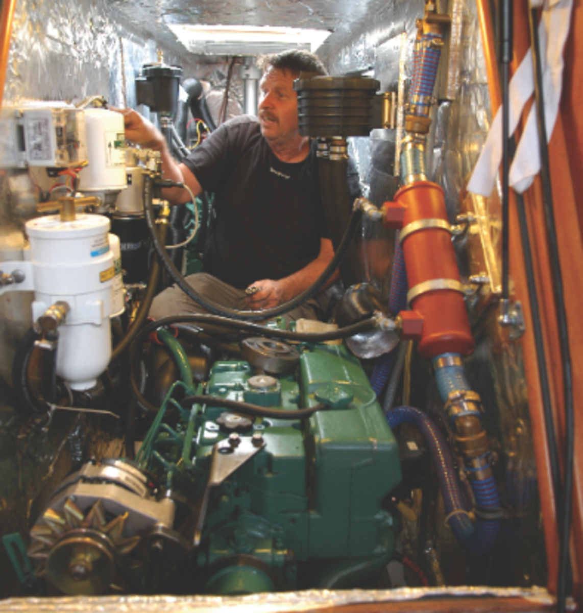 This is the conventional system used to collect baseline data to be compared to the hybrid data. Here we have the Volvo Penta D2-75 diesel being kitted out with sophisticated fuel and torque measurement equipment.