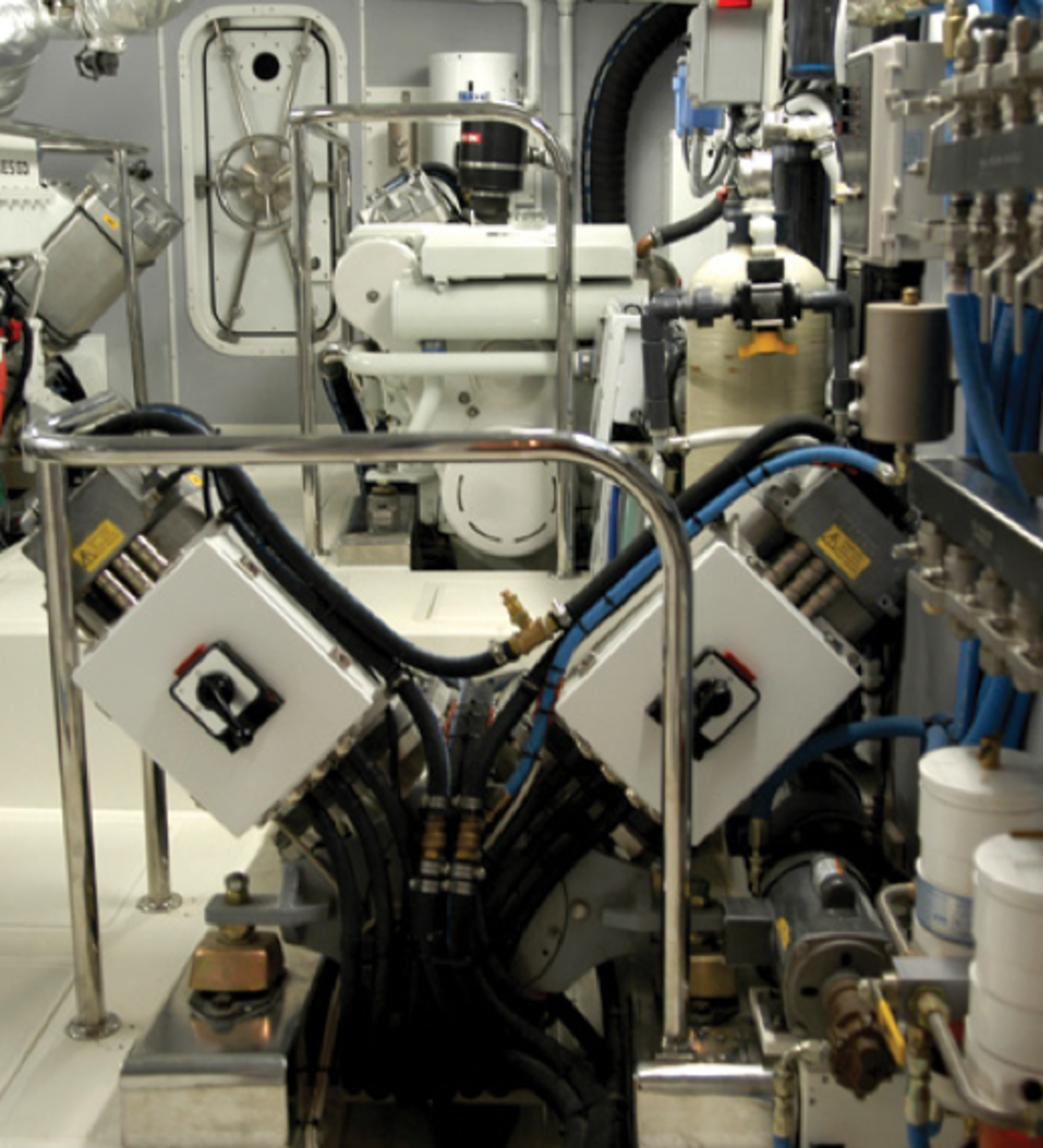 A serial hybrid installation on a large trawler yacht. In the foreground are two electric motors driving the propeller shaft; in the background is the generator that powers the electric motors. This system suffered from teething problems and was subsequently replaced with a conventional installation.