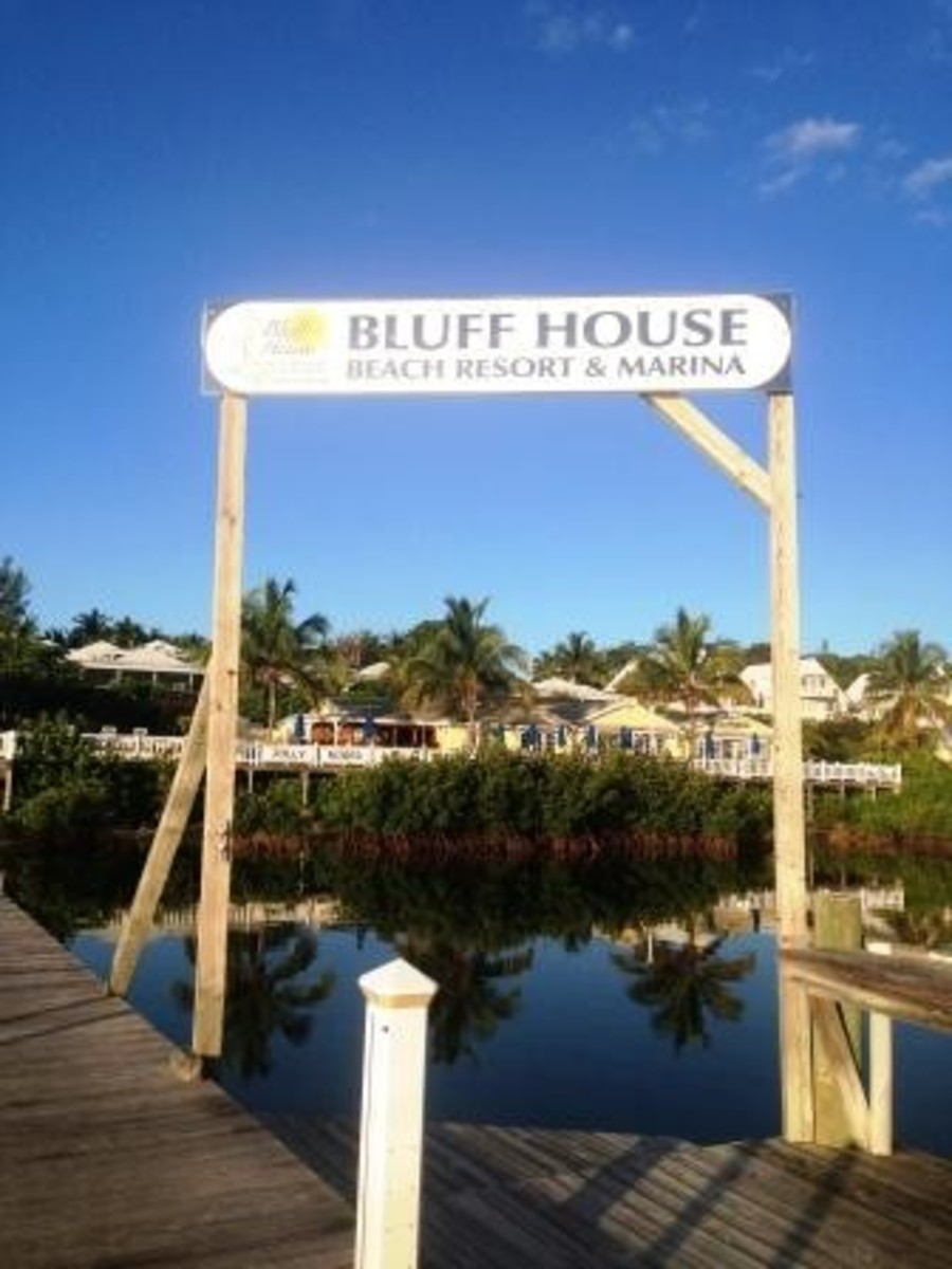 Direction from above, the sign for the Bluff House Bar.