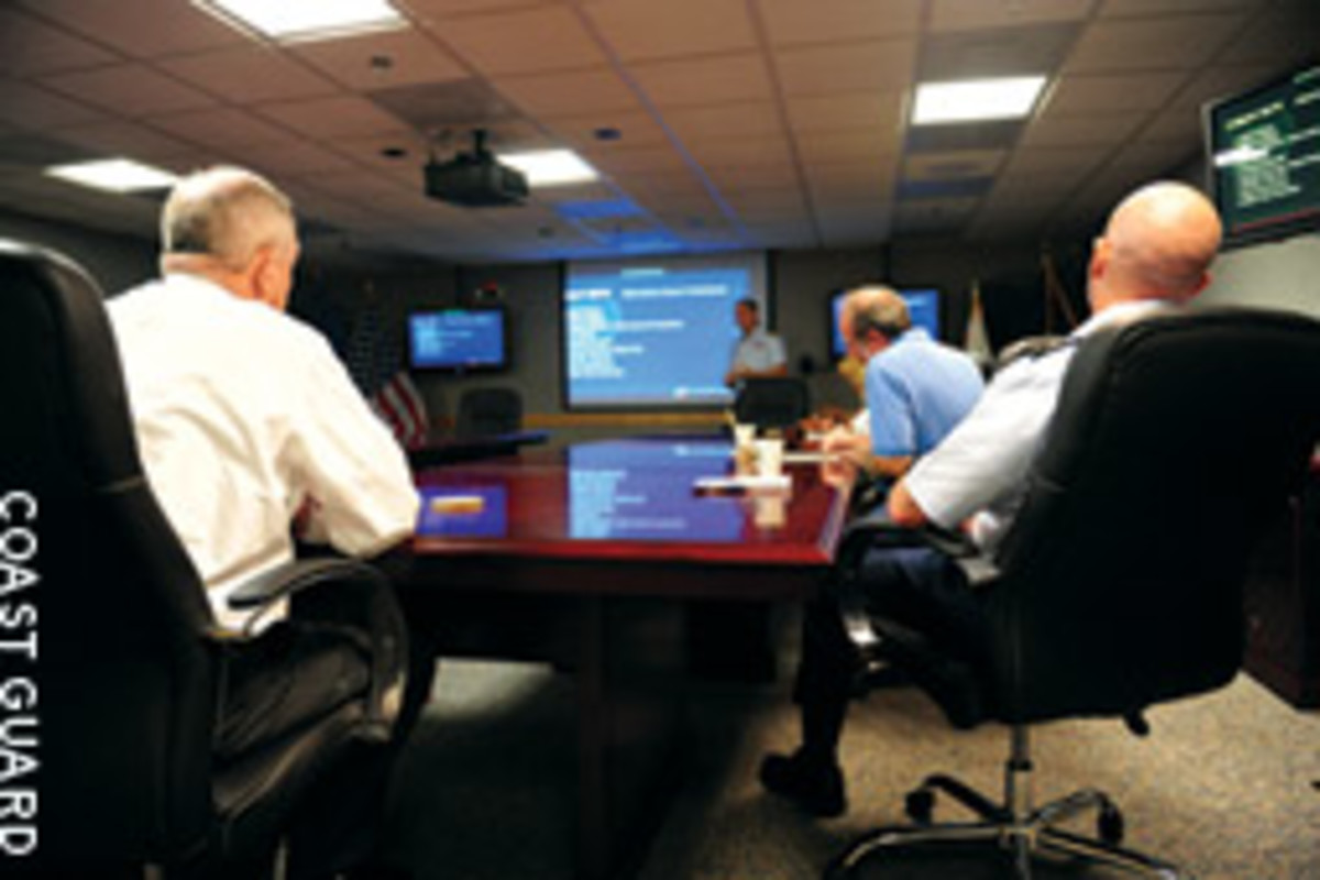 Marine journalists were briefed on the Coast Guard's search-and-rescue system in Miami.