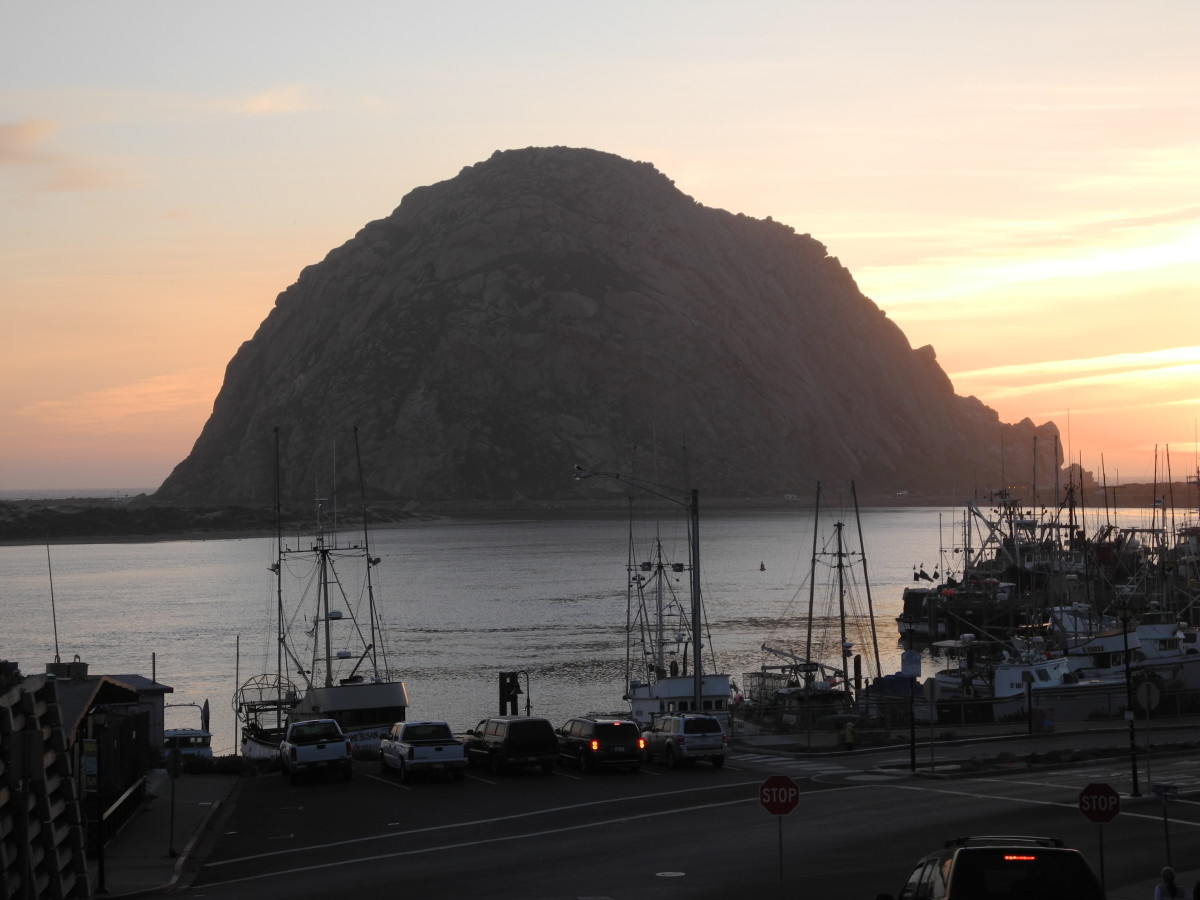 Morro Rock guards the entrance to Morro Bay Harbor.