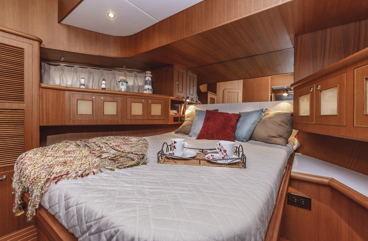 The master cabin has tons of storage and is placed in the vessel bow.