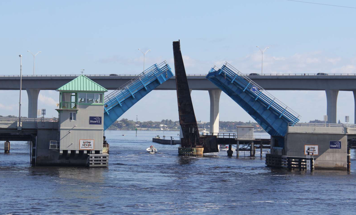 Our official starting gate - crossing under the Roosevelt Bridge in Stuart, Fla.