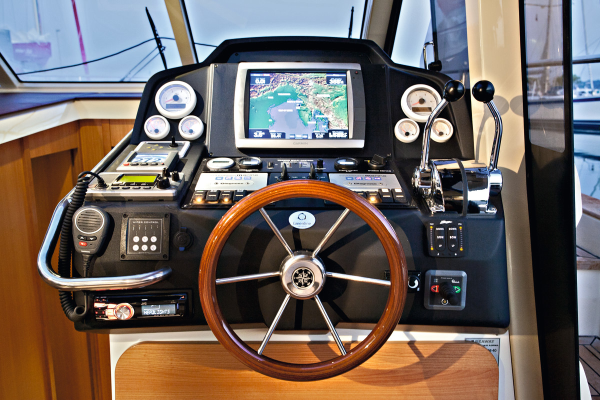The Greenline's starboard mounted helm is well thought out, and features both cutting edge digital as well as analog displays.