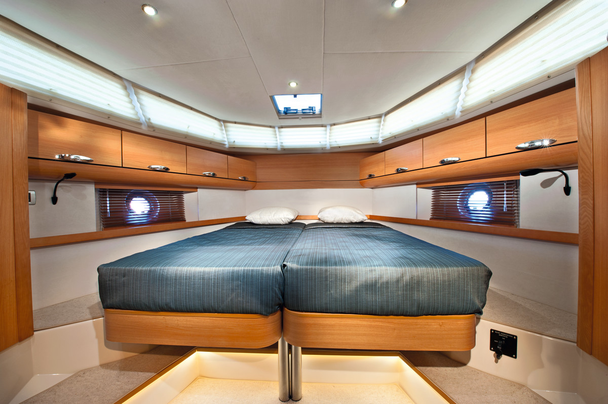 Beds in the V-Berth can be split or slid together to form a double.
