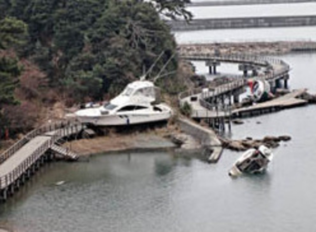 Destruction at Iwaki Sun Marina in the days after the Tsunami.