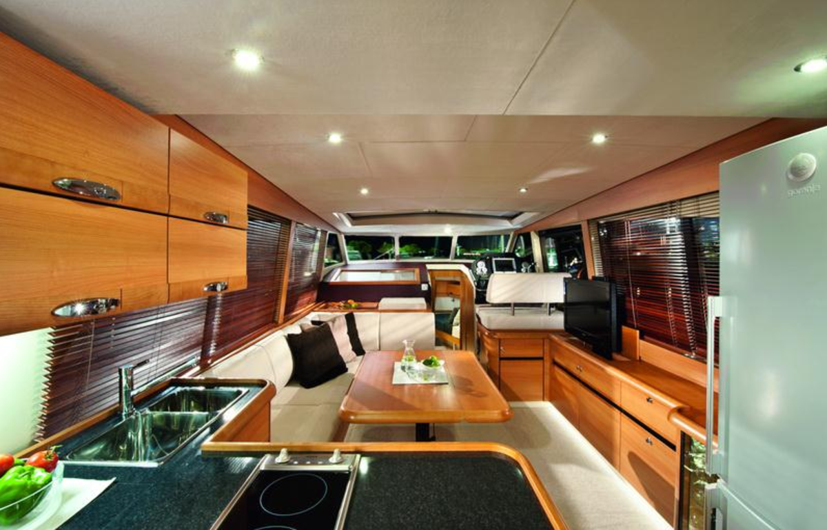 Greenline's interior feature a port side galley with a forward living a dining area.