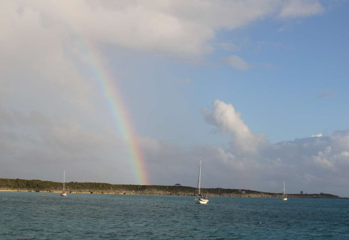 Our welcome rainbow at Higbourne Cay.