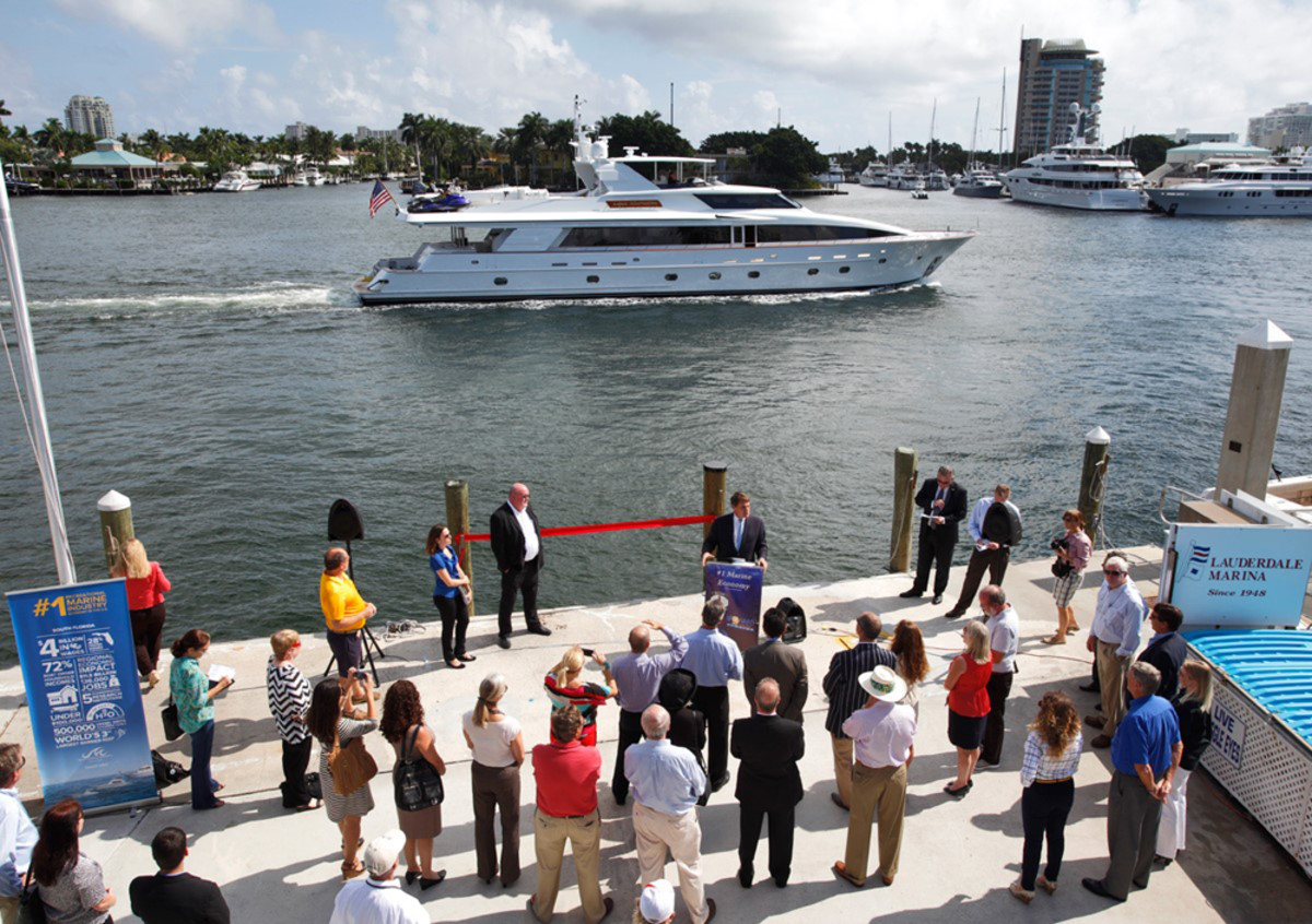 A press conference was held Wednesday at Lauderdale Marina to announce the award of a $20 million contract to dredge the Intracoastal Waterway to a depth of 17 feet from the 17th Street Causeway Bridge to Sunrise Boulevard in Fort Lauderdale. CREDIT: J. Christopher/Marine Industries Association of South Florida.
