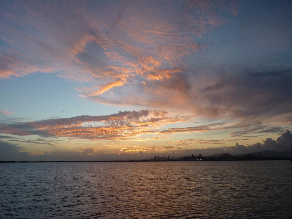 Beautiful sunset at Bahia de Jobos anchorage near Salinas.