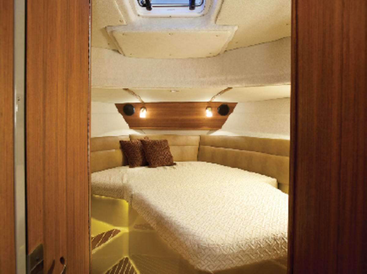 The forward master berth lets you get in bed from either side, eliminating a common source of annoyance on many boats.