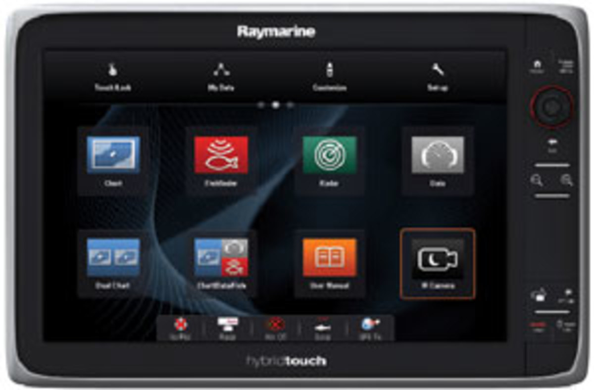Raymarine has kept the rotary knob in its HybridTouch interface.