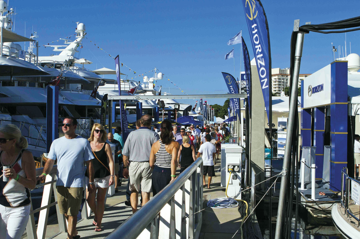 On a typical day, the docks are crowded with potential boat buyers choosing from a virtually limitless selection.
