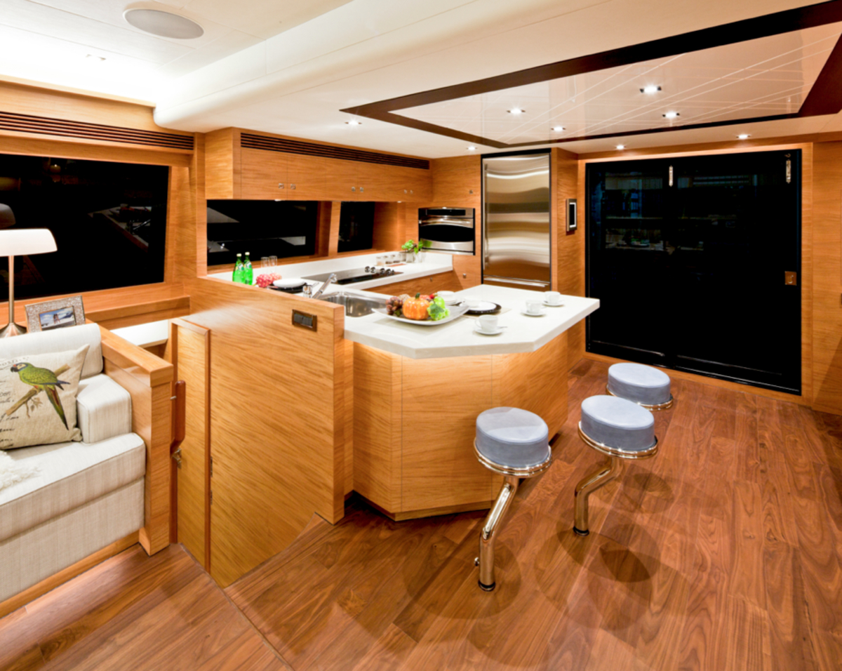 The galley is an ideal entertaining space.