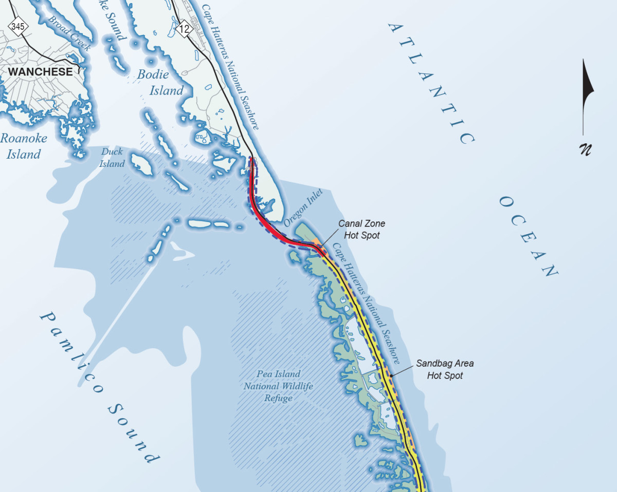An overview of the bridge project area, showing the Pea Island national Wildlife Refuge, which environmentalists claim will be irreversibly damaged if a new bridge is built at Oregon Inlet. Image courtesy of NCDOT