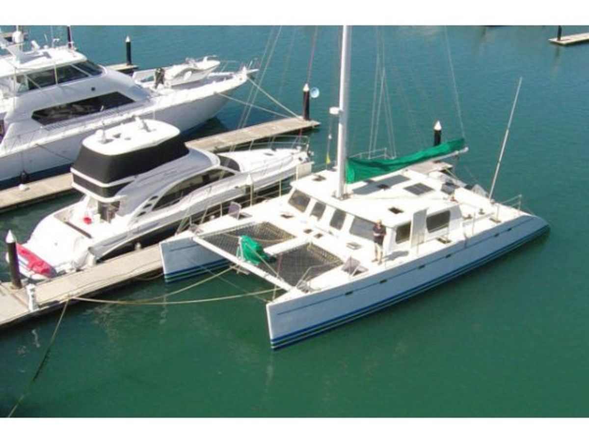 Profligate, a 58-foot catamaran owned by Richard Spindler, is one of about 300 boats under impound by Mexican officials. It has been stuck at the dock in Puerto Vallarta since Nov. 26.