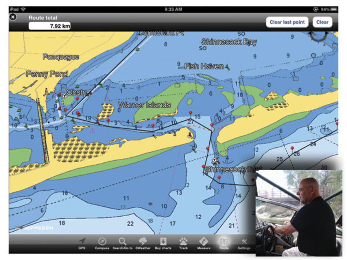 Great Lakes boater Tim Wenham (inset) uses C-MAP software (above) to chart his course in advance, using a waypoint just outside his marina as a jumping-off point for every cruise.