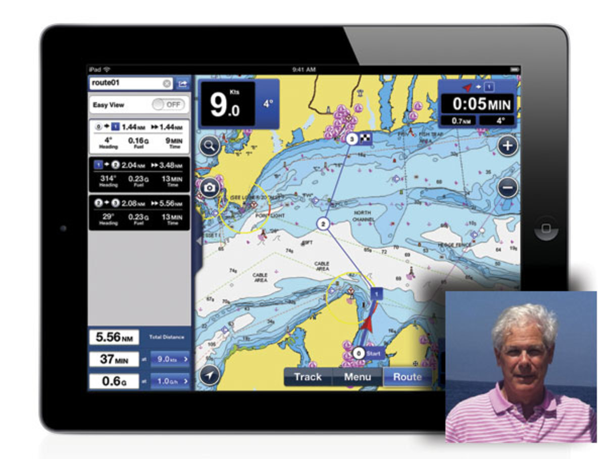 Charles Cohen (inset) uses Navionics route-planning software (above) to help calculate his fuel burn for each cruising leg.