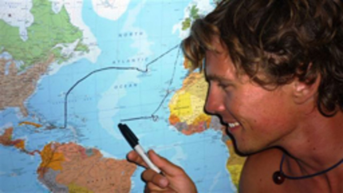 A few years after I met him, Jon van der Horst Bruyn was recrossing the Atlantic single-handed. Here he shows his progress on the trip back to the Caribbean.