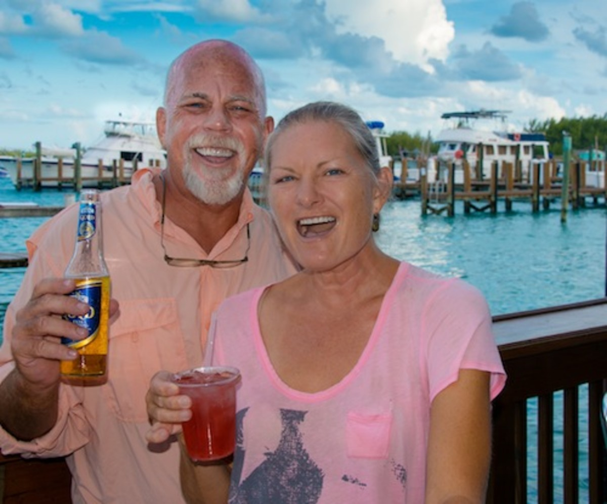 Jay and Karen celebrate again, back at Brown's Marina after surviving a long night with no injuries or damage.