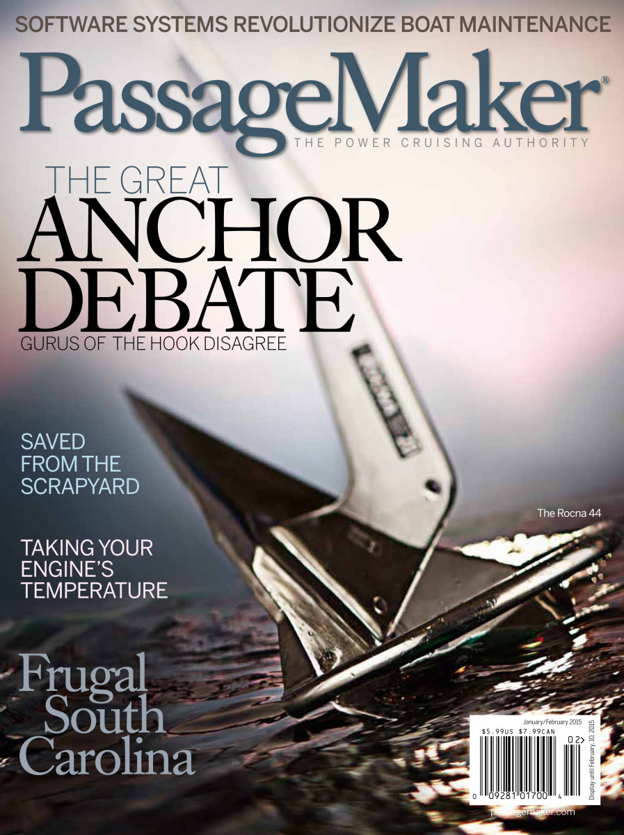 "The prize anchor was the actual Rocna used for the cover of the January PassageMaker magazine, which featured ""The Great Anchor Debate"" as its lead story."
