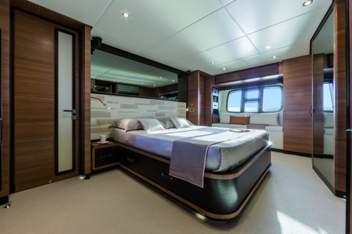 The master cabin spans the yacht's full beam.