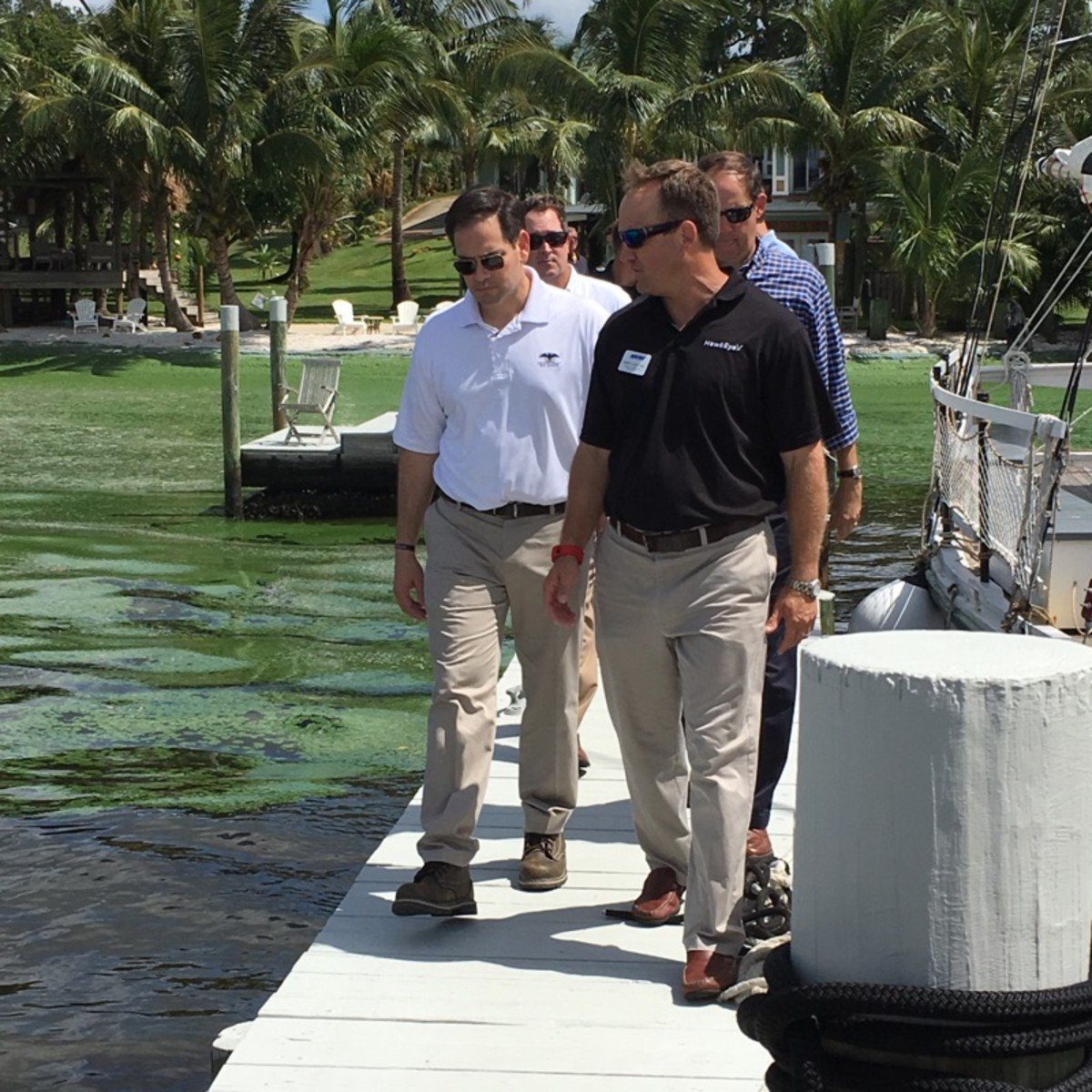 Sen. Marco Rubio's visit to the Lucie River algae bloom, accompanied by NMMA member and Norcross Marine Products CEO Greg Lentine and members of the South Florida Water Management, prompted the senator to appeal to President Obama.