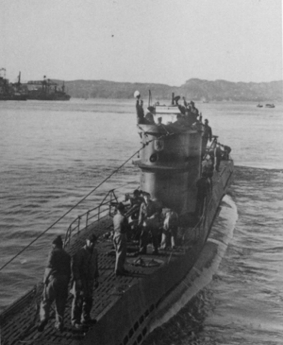 The German U-576 departing Saint-Nazaire, France, circa 1940-1942. The submarine was sunk in 1942 by aircraft fire after attacking and sinking the Nicaraguan freighter Bluefields and two other ships off North Carolina. (Credit: With permission from Ed Caram)