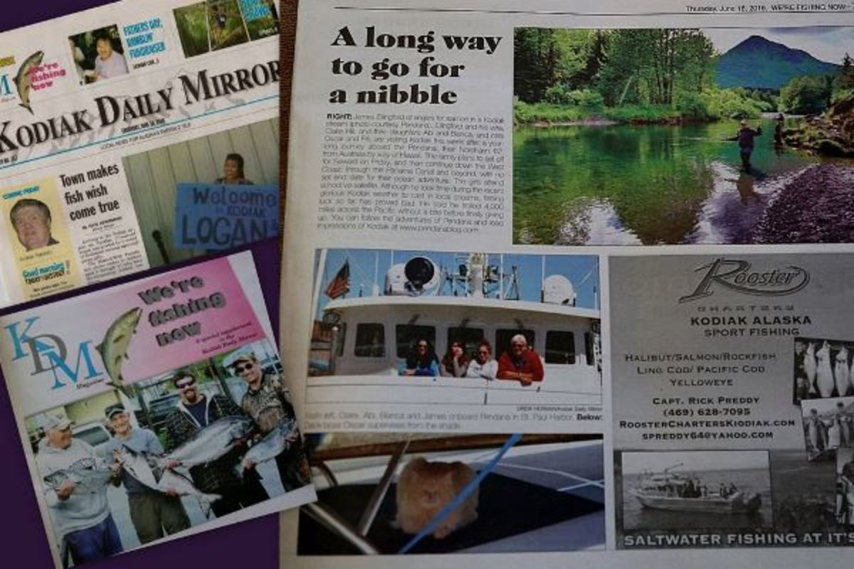 The Ellingfords and Oscar the Brave (our cruising cat) make the Kodiak News.