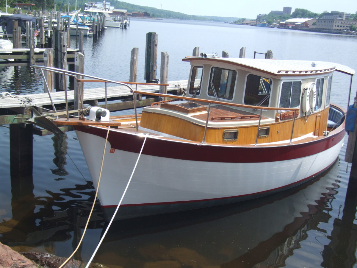 After: The 1976 30-foot Willard Vega Shining Path in her slip at Houghton County Marina.