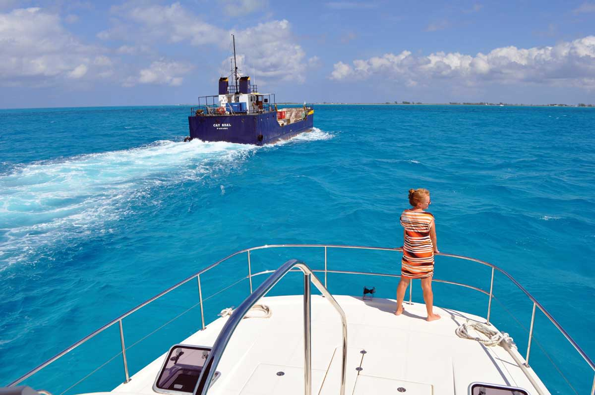 The best way to thread the reef entrance to Anegada is to follow one of the commercial boats through.