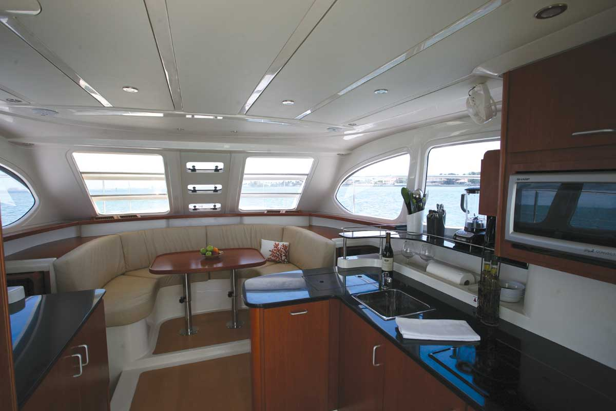 The galley and saloon on the MarineMax 382 are simple and functional.