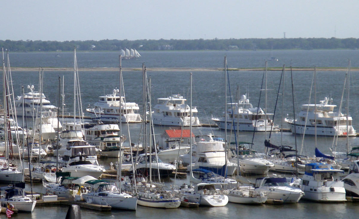 Five Out Reefs line up at the Charleston Harbor Resort and Marina in South Carolina for the fourth annual owner's rendezvous.