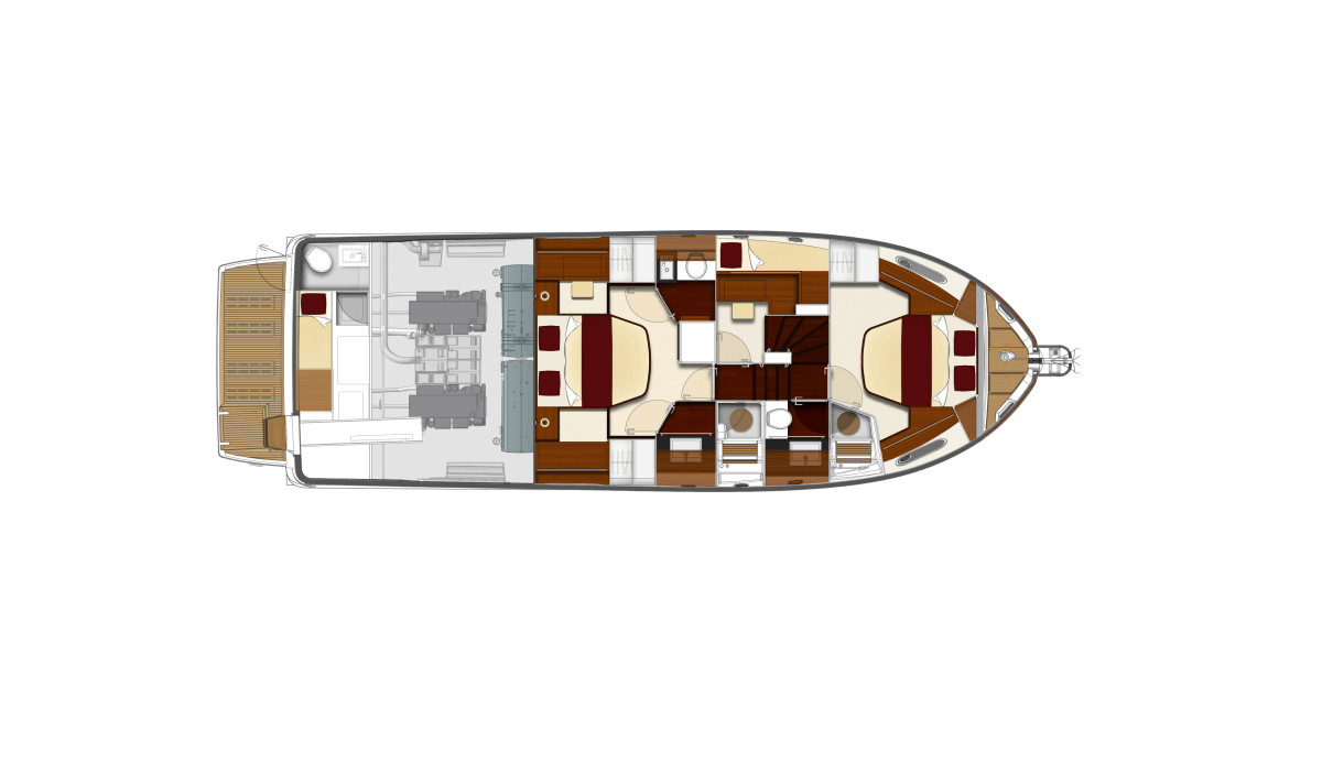 The layout of the ST50 features 2 large staterooms and a sizable saloon for host guests.