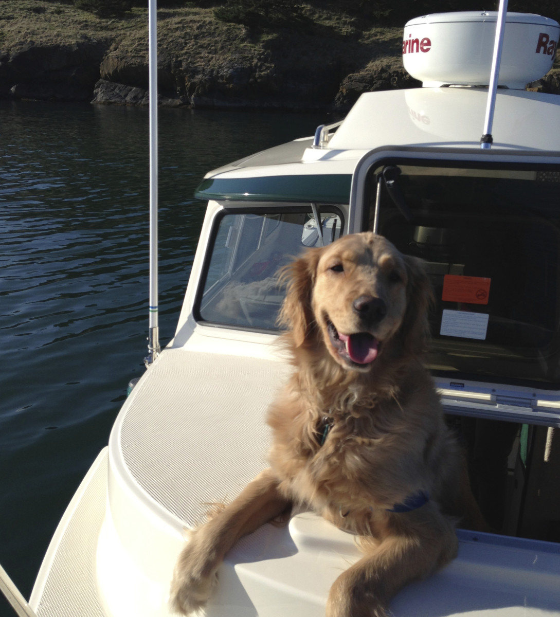 Here's Maggie in the San Juans aboard C-Dory 22 Retriever, says Sam Landsman.