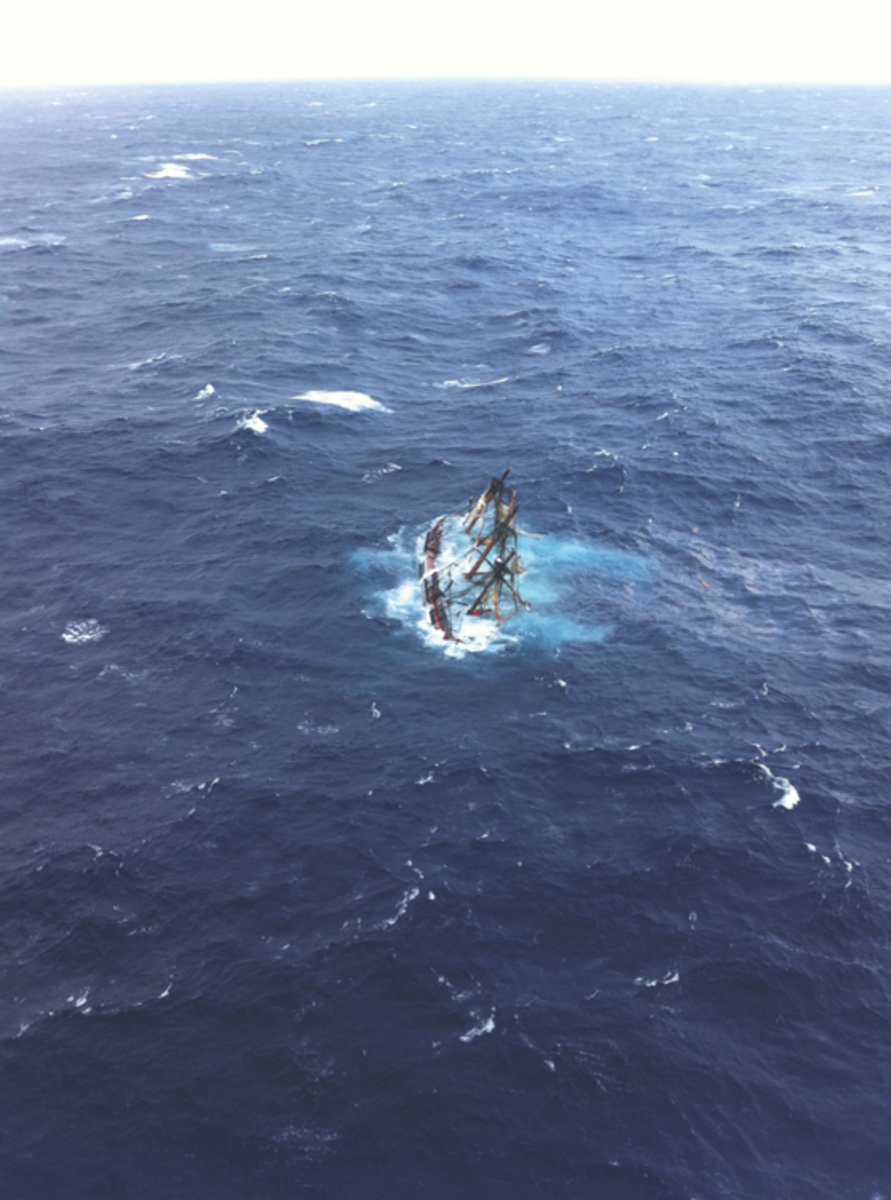 Now an image as iconic of the ship - this ariel photo shows the last seconds of the Bounty's life.