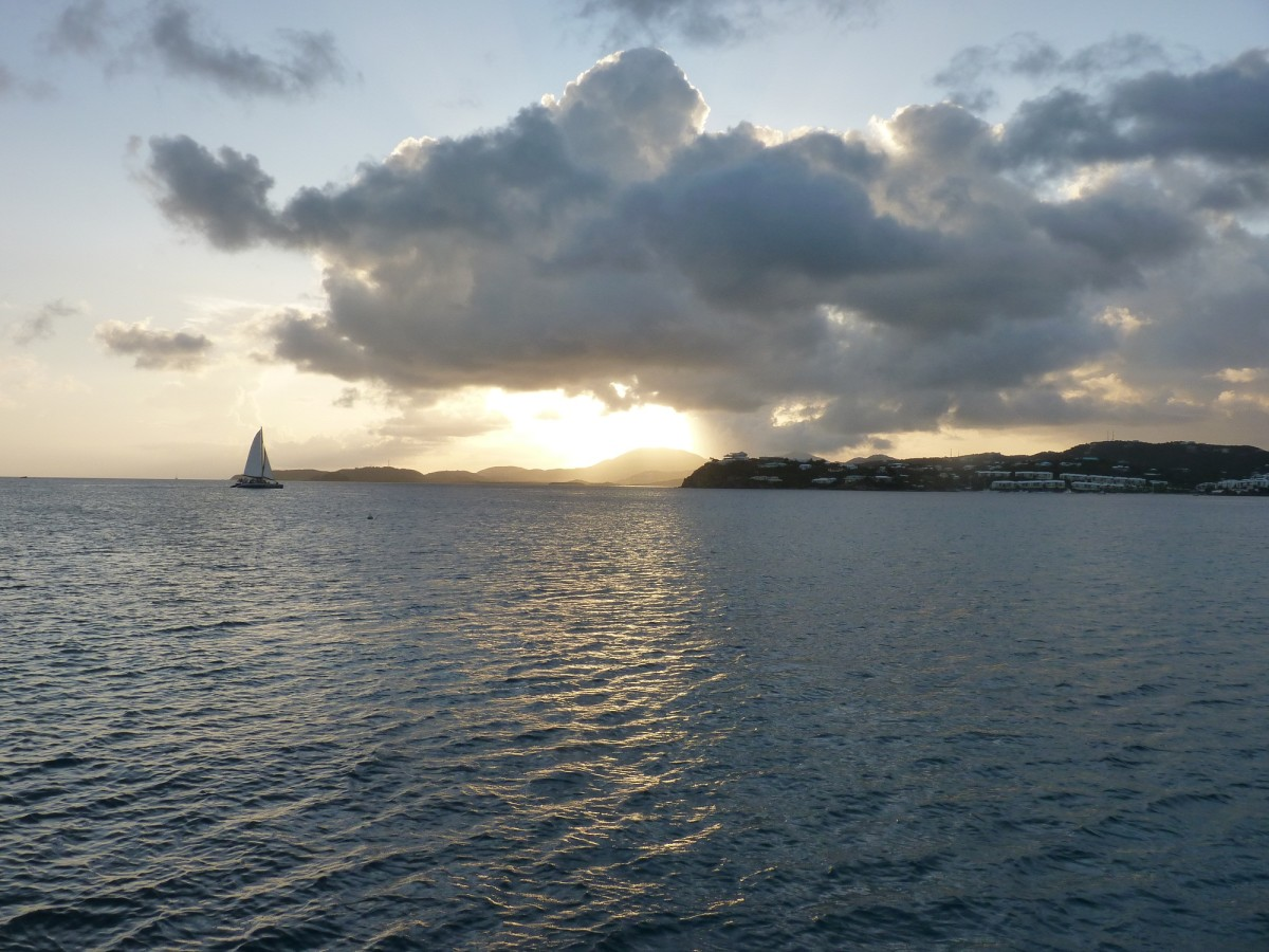 Sunset view of St. Thomas from Christmas Cove.