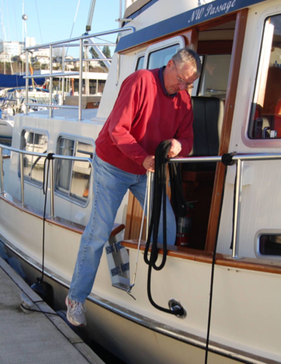 Thanks to this strategically placed side gate, owner Roger Wolthuis steps ashore directly from the pilothouse after easing his boat alongside.