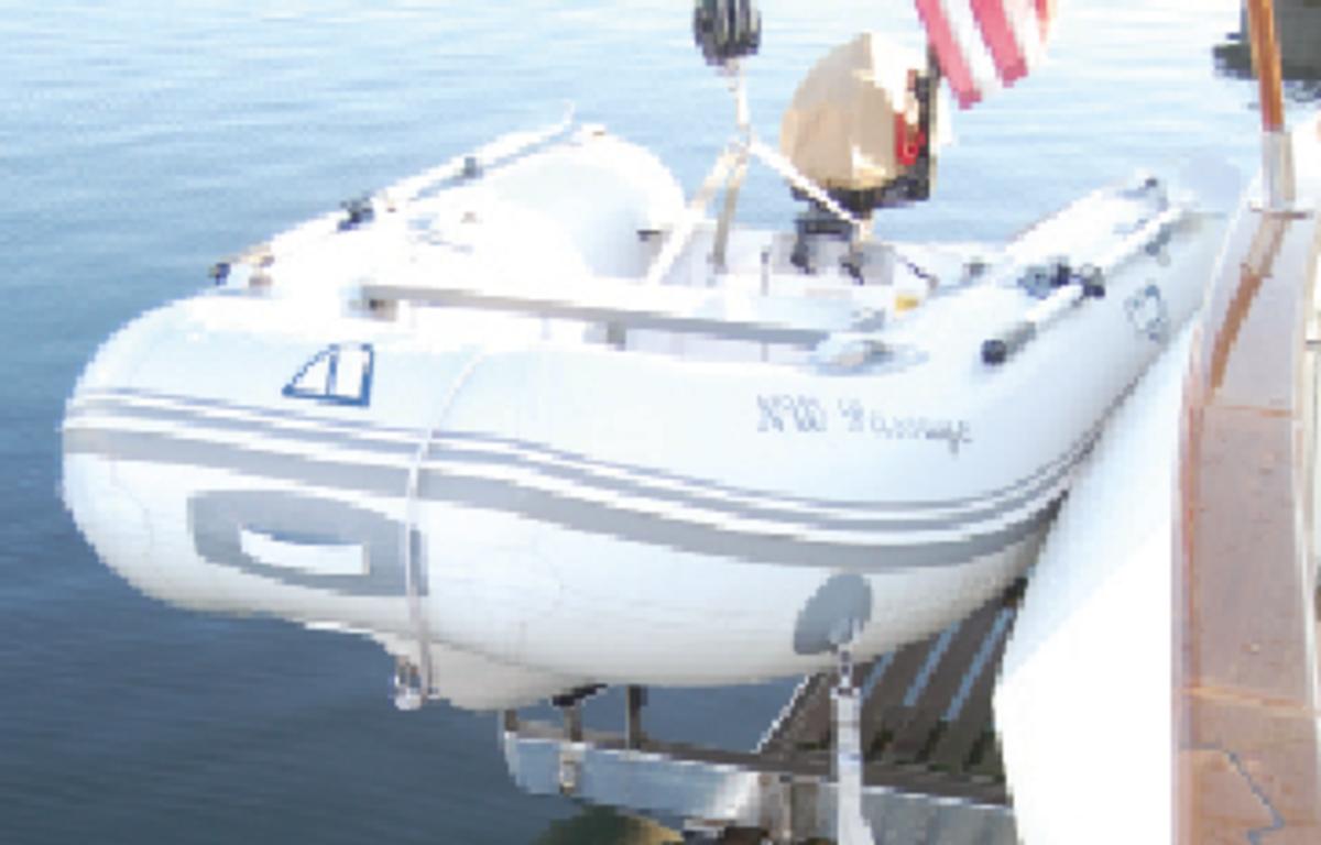 The bolt-on swim platform easily accommodates owner-designed and -installed tender cradle.