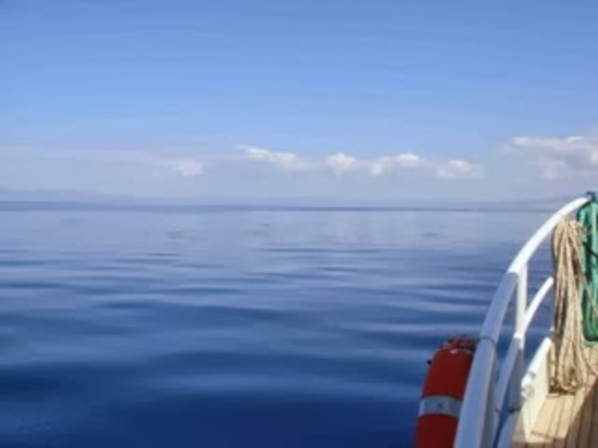 A surreal flat sea while underway.