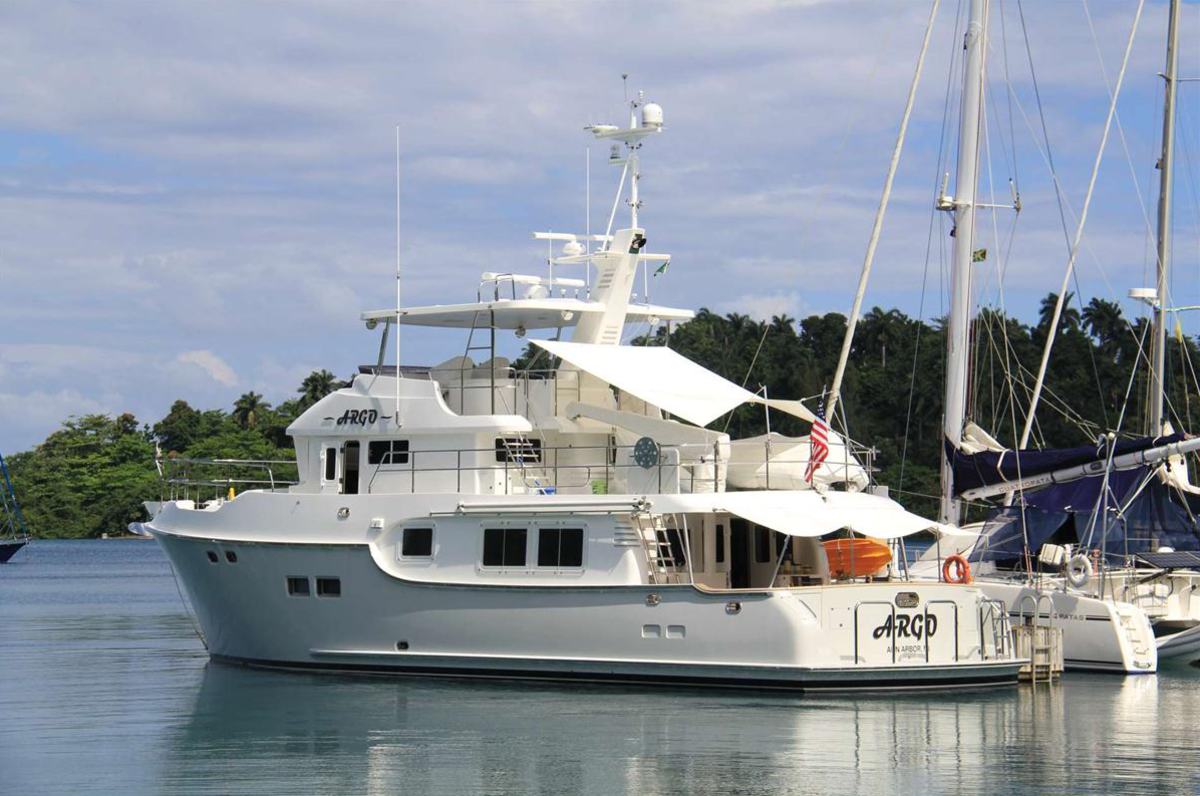 Argo sitting in her slip at the marina in Port Antonio.