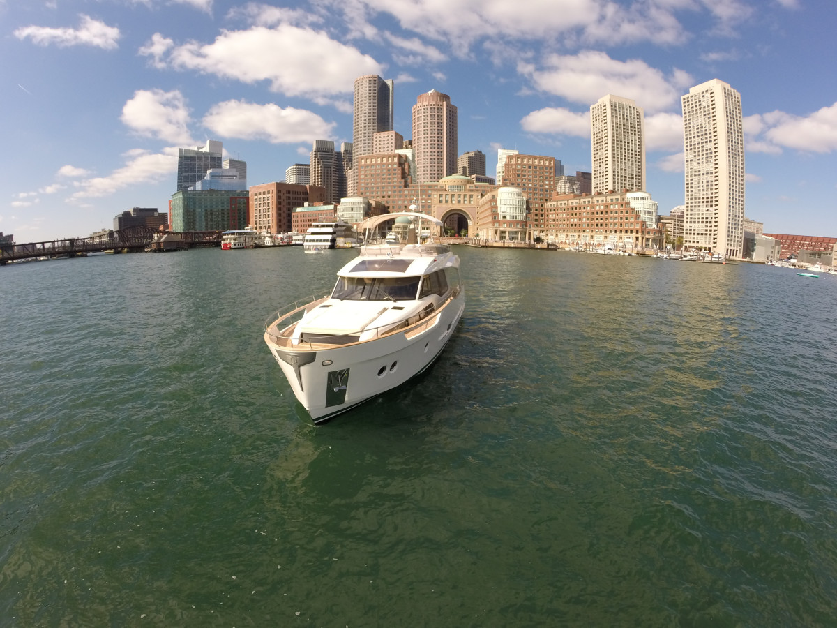 Standing tall against the downtown skyline of Boston.