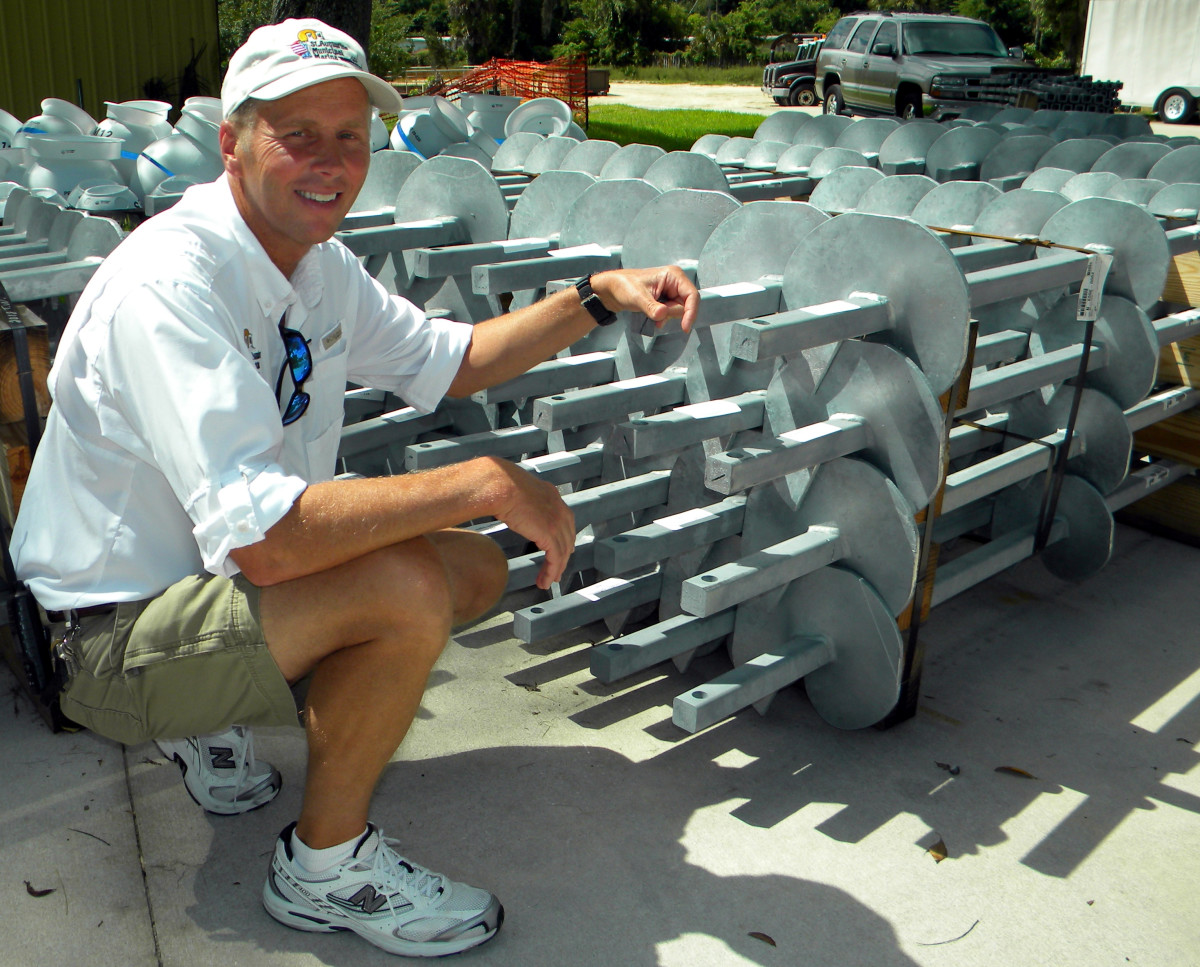 St. Augustine Harbormaster Sam Adukiewicz displays the type of helical screw moorings used by the city for its moorings.