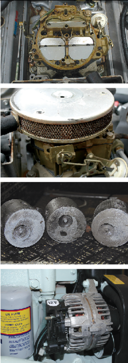 Top to bottom: 1. For decades, gasoline engines have relied on carburetors to mix air and fuel in a manner that offers the greatest efficiency. Carburetors are complex and susceptible to fuel contamination issues. Today, most gasoline engines rely on fuel injection. 2. The flame arrestor, often mistaken for a simple air filter, is a critical safety component, as it prevents the ignition of flammable vapors within the engine compartment. 3. These pistons have suffered damage as a result of detonation or pre-ignition, a phenomenon peculiar to gasoline engines. 4. The alternators and starters used on gasoline engines are different from those used in diesel and automotive applications. Under no circumstances should components that lack ignition protection be used with gasoline engines.