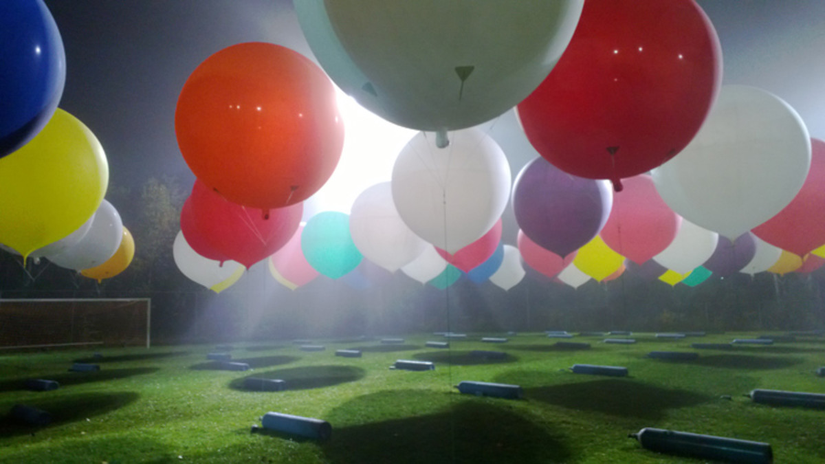"Each balloon measures roughly 8 feet in diameter and has to individually inflated and ""harvested"" before flight,"
