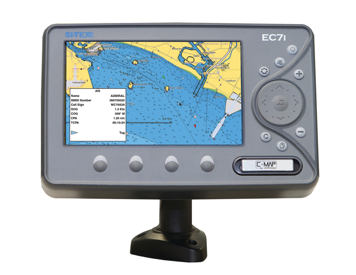 Sitex EC 7i Chartplotter while identified AIS target displayed on screen.